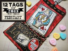 February Tag 2013 - Love the techniques used in this tag - as well as the playing card!!   http://timholtz.com/12-tags-of-2013-february/