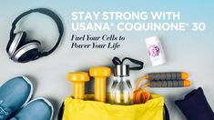 Creative flat lay of sport and fitness equipments - What's Up, USANA? No Equipment Workout, Fun Facts, Cool Stuff, Fitness, Creative, Sports, Gray Background, Flat Lay, Healthy Life