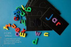 Spelling busy bag: this one laminate a card with 3 letter CVC words on them and use die cuts, foam, or magnet letters so preschooler can math up. Be sure to include enough letters to make all the words. Do not recommend magnet letters for children under 5 - risk of ingesting small magnet.