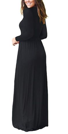 Women Long Sleeve Loose Plain Maxi Dresses Casual Long Dresses With Pockets Plus Size Maxi Dresses, Casual Dresses, Short Sleeve Dresses, Long Dresses, Long Sleeve, Fashion Dresses, Dresses Dresses, Dress Long, Girls Dresses