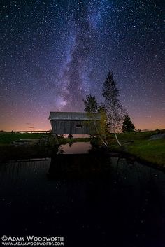 Foster Covered Bridge - Cabot, Vermont Here's one that I've been meaning to process for a while, the Milky Way over Foster Covered Bridge in Cabot, Vermont. I was hoping for a better reflection but there were quite a few weeds in the pond, so this about the best I could get for the foreground. This bridge is a replica of one in Marshfield, Vermont. The Marshfield bridge was built around 1890, and this one was built around 1989.