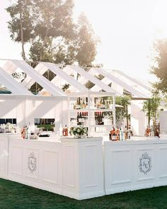 Modern + sleek all white wedding bar cart at Rancho Valencia in Rancho Santa Fe, California. Dream turned reality by Florist- Botanicamuse, Planner- Shannon Leahy Events and Photographer- Lacie Hansen Photography. All White Wedding, Dream Wedding, Open Bar Wedding, Diy Wedding, Wedding Favors, Old World Wedding, Buffet, Event Decor, Wedding Venues