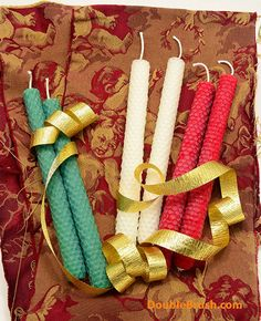 Christmas Candles 6 Christmas Decor Christmas Decoration Christmas Home Decor Green White Red Hand Rolled Beeswax Candles Handmade Gift by doublebrush on Etsy