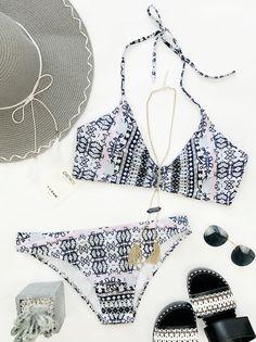 $23.99 Chicnico Gypsy Two Piece Floral Print Bikini Set