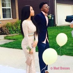 New Design Sexy Prom Dress, 2 Pieces Floor-Length Evening Dresses,Prom Dresses Couple Style, Prom Outfits, Homecoming Dresses, Prom Goals, Bae Goals, Prom Couples, Prom 2015, Prom Dresses Long With Sleeves, Prom Pictures