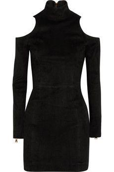 Balmain - Cutout suede mini dress