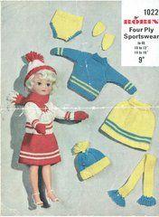 Robin 1022 fashion doll clothes vintage knitting pattern