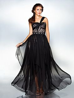 Formal Evening/Military Ball Dress - Black Plus Sizes Sheath/Column One Shoulder Floor-length Chiffon | LightInTheBox