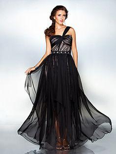 Formal Evening/Military Ball Dress - Black Plus Sizes Sheath/Column One Shoulder Floor-length Chiffon   LightInTheBox