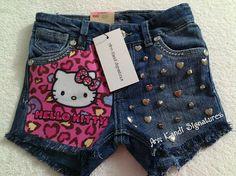 Toddler Girl/ Little Girl Hello KittyPrinted Levis Studded Denim Shorts, etsy.com