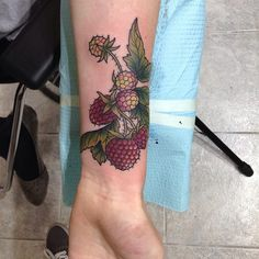 Delicious #raspberries covering up a crappy Harry Potter tattoo. Lumos!! #tattoo #foodtattoo #elizenazelie #fruit #botanical #bostontattoo #babyraspberries