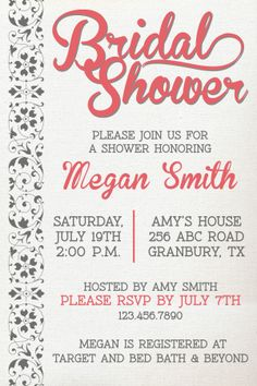Bridal Shower Invitation coral | chocolate brown www.Quick-DrawDesign.com