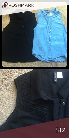 Two sleeveless blouses Black has lace up top feels like silk. Light blue. They are both size 6 but fit on a small. Tops