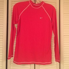 Hot pink nike compression shirt Hot pink nike compression shirt barely worn Nike Tops Tees - Long Sleeve