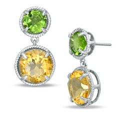 Classic, captivating and colorful, these drop earrings will delight the heart of any woman. Decidedly feminine, each earring features a 7.0mm spring green peridot post in a braided frame. Beneath this bright beauty, a 10.0mm golden citrine drop, also in a braided frame, swings freely. A lovely look in polished sterling silver, these earrings secure comfortably with friction backs.