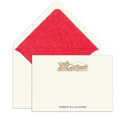 Elegant Note Cards with Engraved Coach