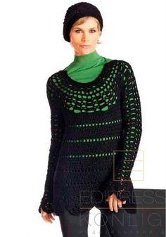 Черный пуловер крючком black pullover Crochét sweater pattern
