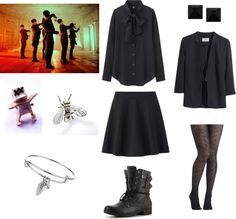 "[Requested by Anonymous] Outfit inspired by Vixx's ""Voodoo Doll"" MV More Outfit on I Dress Kpop Get The Look : Voodoo Doll Brooch Insect Ring Leaf Bracelet Blouse Skirt Boots Stud Earrings Blazer Textured Tights"