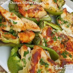 """Philly Chicken Stuffed Peppers Weekend food that everyone WANTS to eat! (Serves Ingredients: 1 Tbsp olive, or avocado oil 2 small onions, sliced into…"" Clean Eating Recipes, Healthy Eating, Cooking Recipes, Healthy Recipes, Clean Foods, Food Crush, Clean Eating Dinner, Chicken Stuffed Peppers, Food Categories"