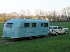 1948 Vagabond trailer, pulled by 1959 DeSoto Fireflite station wagon