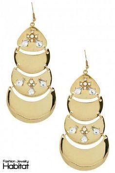 Luxe Luna Chandelier Earrings - $16.00 at FashionJewelryHabitat.com - #FashionJewelryHabitat #FashionHabitat