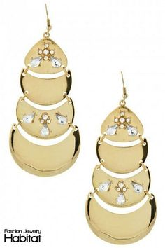 Luxe Luna Chandelier Earrings - $16.00 at FashionJewelryHabitat.com - #FashionJewelryHabitat #FashionHabitat