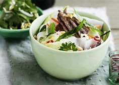 Vietnamese lemongrass beef and rice noodle salad