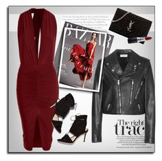 """""""Red Bodycon Dress"""" by luvsassyselfie ❤ liked on Polyvore featuring moda, Yves Saint Laurent, Loeffler Randall, MAC Cosmetics, women's clothing, women's fashion, women, female, woman y misses"""