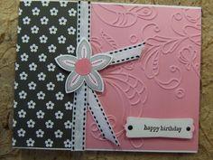 Handmade BIRTHDAY Card EMBOSSED SUsingtampin Up Flower PINK