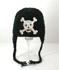 Skull Earflap Hat, Handmade Black  Crochet Beanie, Send Size Baby - Adult