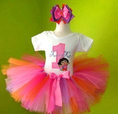 #MC Dora The Explorer Number Birthday Tutu Set Outfit by PoshBabyStore.com