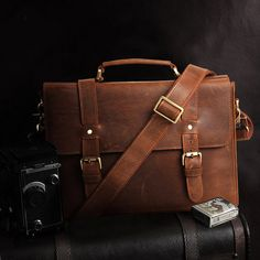 Mens Leather Messenger Bag. I need to get me one of these