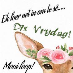 Goeie Nag, Goeie More, Afrikaans Quotes, Friday Humor, Day Wishes, Lekker Dag, Van, Mornings, Motivation