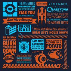 Buy this Portal Quotes t-shirt featuring the video game's most memorable images and quotes. The Portal Collage shirt is ideal for fans of the puzzle-platform game. Video Game Art, Video Games, Video Game Quotes, Fnaf, Orange Box, Xbox One, Companion Cube, Aperture Science, You Monster