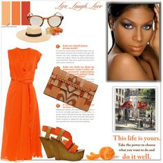 Bright Side by arethaman on Polyvore featuring polyvore fashion style Sportmax Steve Madden Valentino Noir Jewelry Le Specs Pure Country Weavers Expressions weekend orangedress