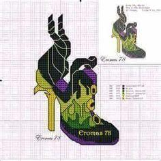Maleficent x-stitch shoe