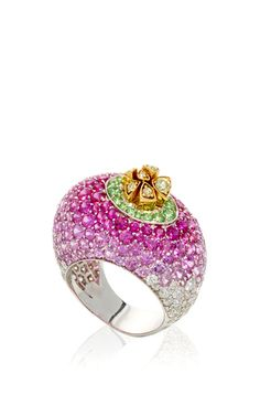 Turnip Ring - 18K White Gold feat.glistening layers of Pink Sapphires, Multicolored Diamonds and Tsavorites by LORENZ BAUMER for Preorder on Moda Operandi ♥•♥•♥