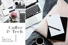 Coffee & Tech | 5 Device Mockups. Showcase your portfolio, website, social media profiles, or whatever else you'd like with this collection of easy to use device mockups. Coffee & Tech Features: 5 PSD Mockups, Easy to Replace Screens, Simple Smart Objects, High Resolution. Includes iPhone, iPad, Macbook. $15 https://crmrkt.com/rjJgMV?u=sarahdesign #ad