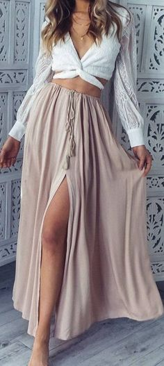 #summer #latest #trends |  White Long Sleeve Crop  Nude Maxi Skirt
