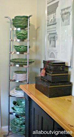 love the majolica ware dishes love the stainless pot rack idea to hold them ~ great kitchen/pantry idea ~ from All About Vignettes: A Vintage Corner Cabinet in My Laundry / Pantry Kitchen Organization, Kitchen Storage, Kitchen Decor, Dining Decor, Kitchen Pantry, Tiny Spaces, Small Apartments, Dish Storage, Plate Storage
