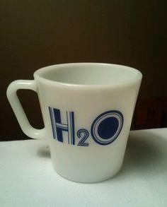 Rare Pyrex Milk Glass Coffee Mug H2O Corning Waterware Water Ware Vintage USA