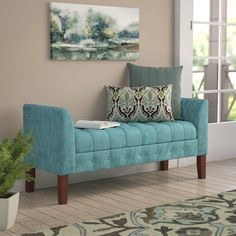 Andover Mills Hana Upholstered Storage Bench Color: T Home Furniture, Living Room Furniture, Upholstered Storage, Luxury Home Furniture, Room Decor, Bedroom Design, Living Room Decor, White Furniture Living Room, Furniture