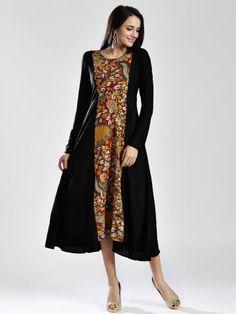 Anouk Black Kalamkari Printed Maxi Dress
