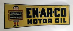 Original Enarco Motor Oil Tin Tacker Sign