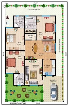 Amazing Beautiful House Plans With All Dimensions - Engineering Discoveries Free House Plans, Simple House Plans, House Layout Plans, Duplex House Plans, Simple House Design, Family House Plans, Home Design Floor Plans, Modern House Floor Plans, 20x40 House Plans