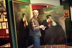 """W trakcie malowania kopii obrazu """"Portret Mickiewicza na Judahu skale"""""""