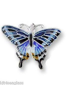Zarah Dark Tiger Swallowtail Butterfly CHARM Sterling Silver Enamel - Free Ship