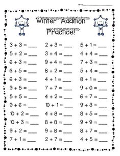 FALL Addition Practice Worksheet Pack - 3 Leveled Sheets for Back to School! I made this pack of add Kindergarten Addition Worksheets, Math Practice Worksheets, First Grade Math Worksheets, 1st Grade Math, Preschool Worksheets, Number Worksheets, Activities For 6 Year Olds, Homeschool Math, Math For Kids