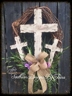 Beautiful Cross Wreath, home decor, Easter decor #DIYHomeDecorSpring