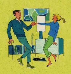 Record Love!   Original gouache on illustration board forWALT DISNEY MAGAZINEVolume 4, Number 5, August 1959  (edited)  Miehana